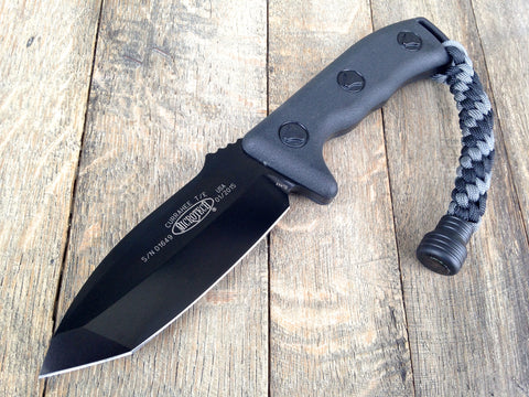 "Microtech Currahee Tanto Fixed Blade (4.5"" Black Plain) 103-1BL"