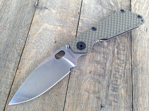 "Strider SnG Gree Gunner Grip Folder (3.5"" Stonewash Plain)"