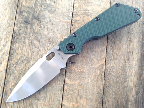 "Strider SMF Forest Green G-10 Top Ground  (3.9"" Ghost Striped) S30V"