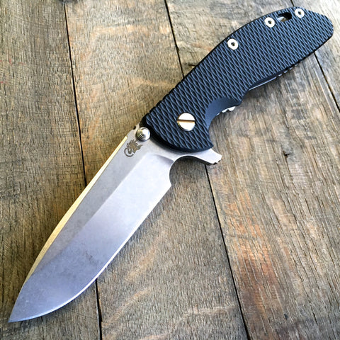 "Hinderer Knives XM-24 Spear-point Flipper Black (4"" Stonewash Plain)"