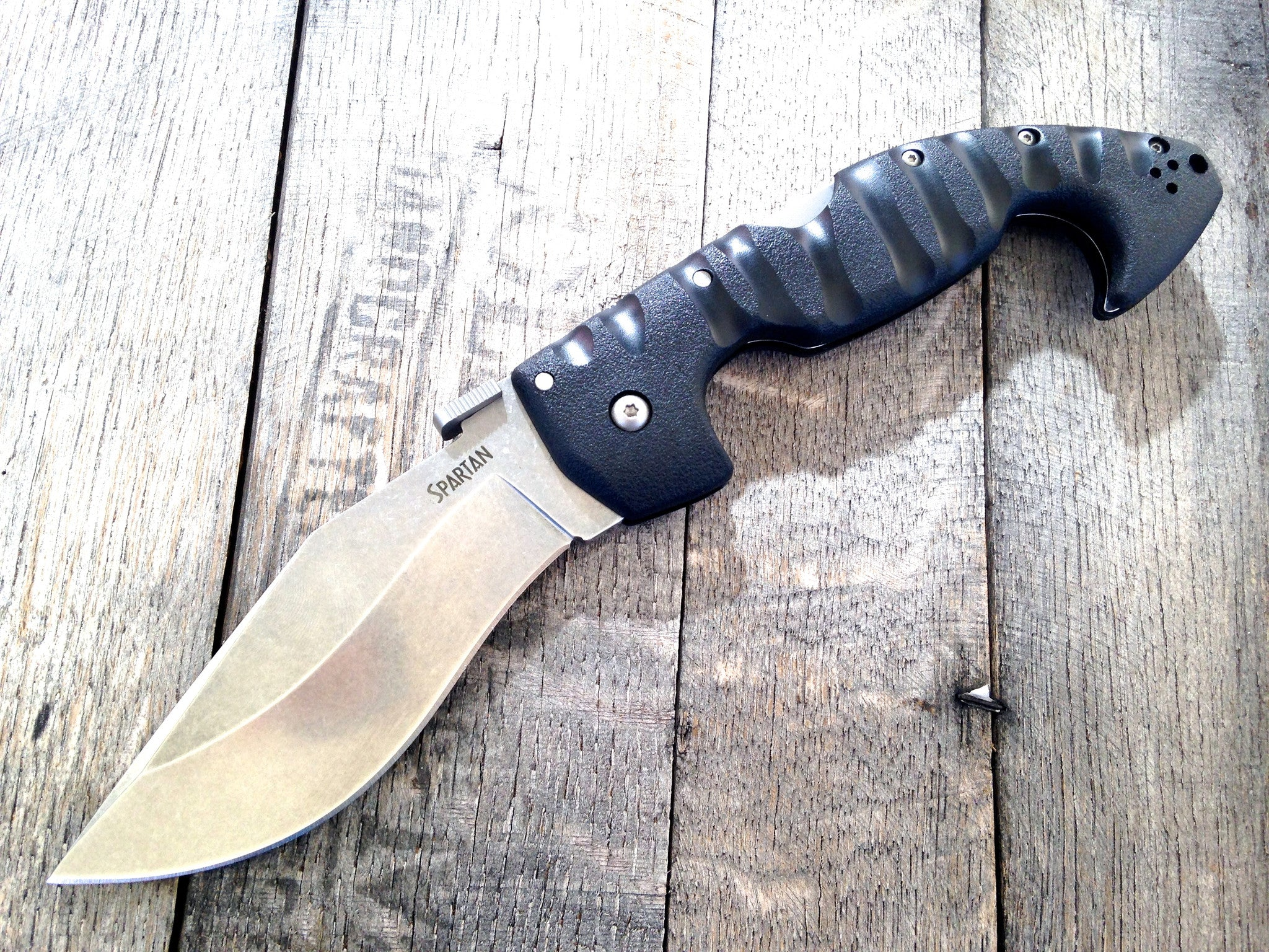 "Cold Steel Spartan Kopis Tri-Ad Lock Knife (4.5"" Stone Washed) 21S - GearBarrel.com"
