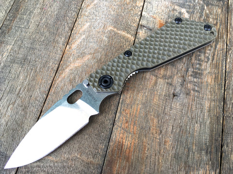 "Strider SnG Green Gunner Grip Folder (3.5"" Stonewash Plain)"