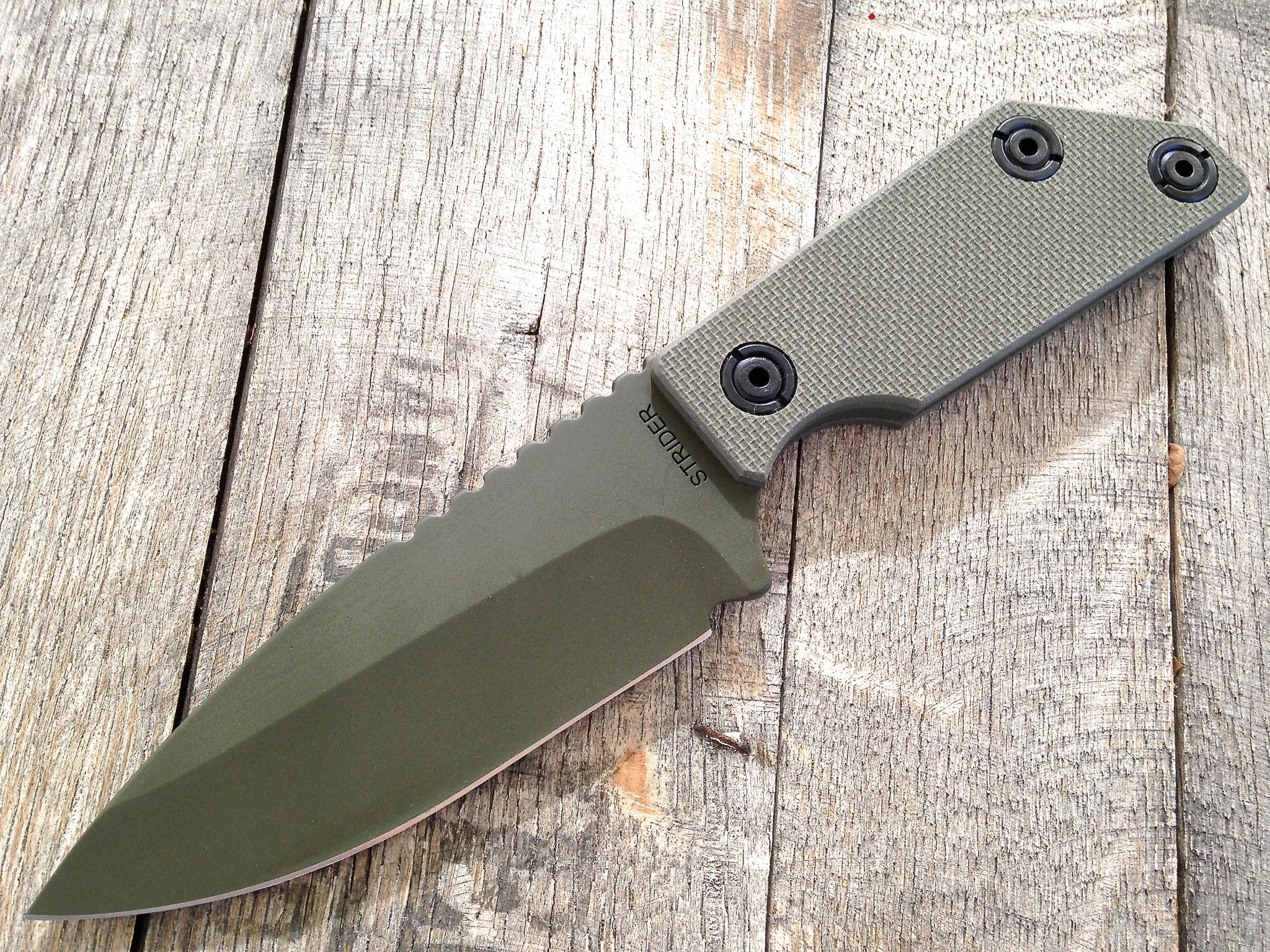 Strider EB-S Fixed Spear Point Cerakote Green G10 - GearBarrel.com