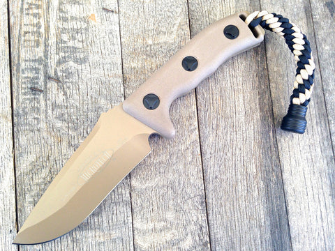 "Microtech Currahee Drop Point Fixed Blade (4.5"" Tan Plain) 102-1TA"
