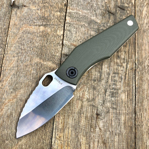 "Strider SJ75 Mini Titanium Framelock Knife w/ Green G10 (3"" Plain)"