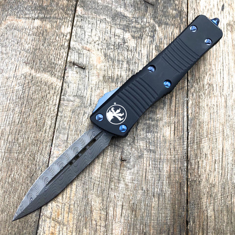"Microtech Signature Series Troodon OTF Blue Hardware (3"" Damascus) #16"