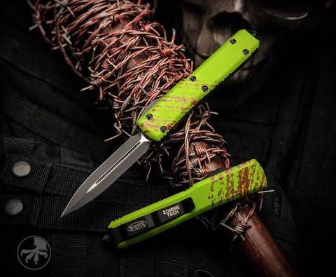 "2019 Microtech Ultratech  Zombie Tech D/E (3.4"" Black Plain) 122-1Z"