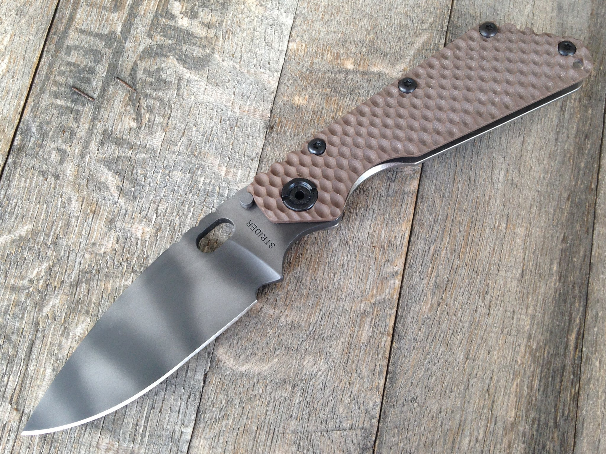 "Strider SMF Knife Brown G10 GG Gunner Grip (3.9"" Tiger Stripe Plain) - GearBarrel.com"