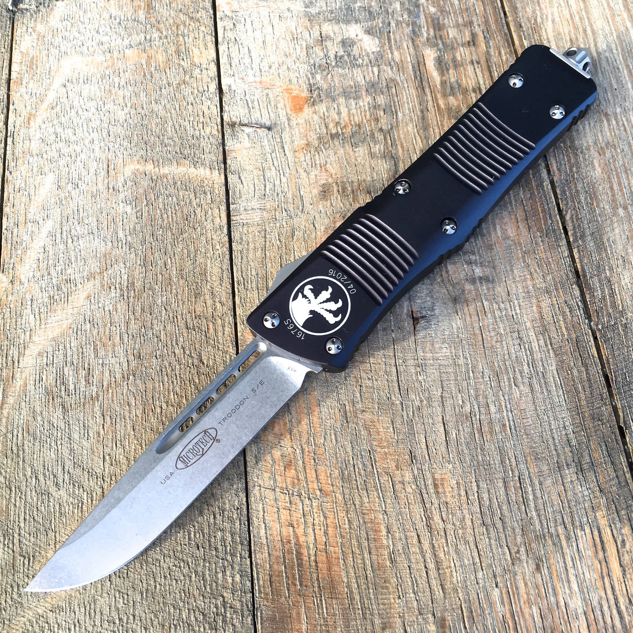 "Microtech Troodon OTF S/E  (3"" Stonewashed) 139-10 - GearBarrel.com"