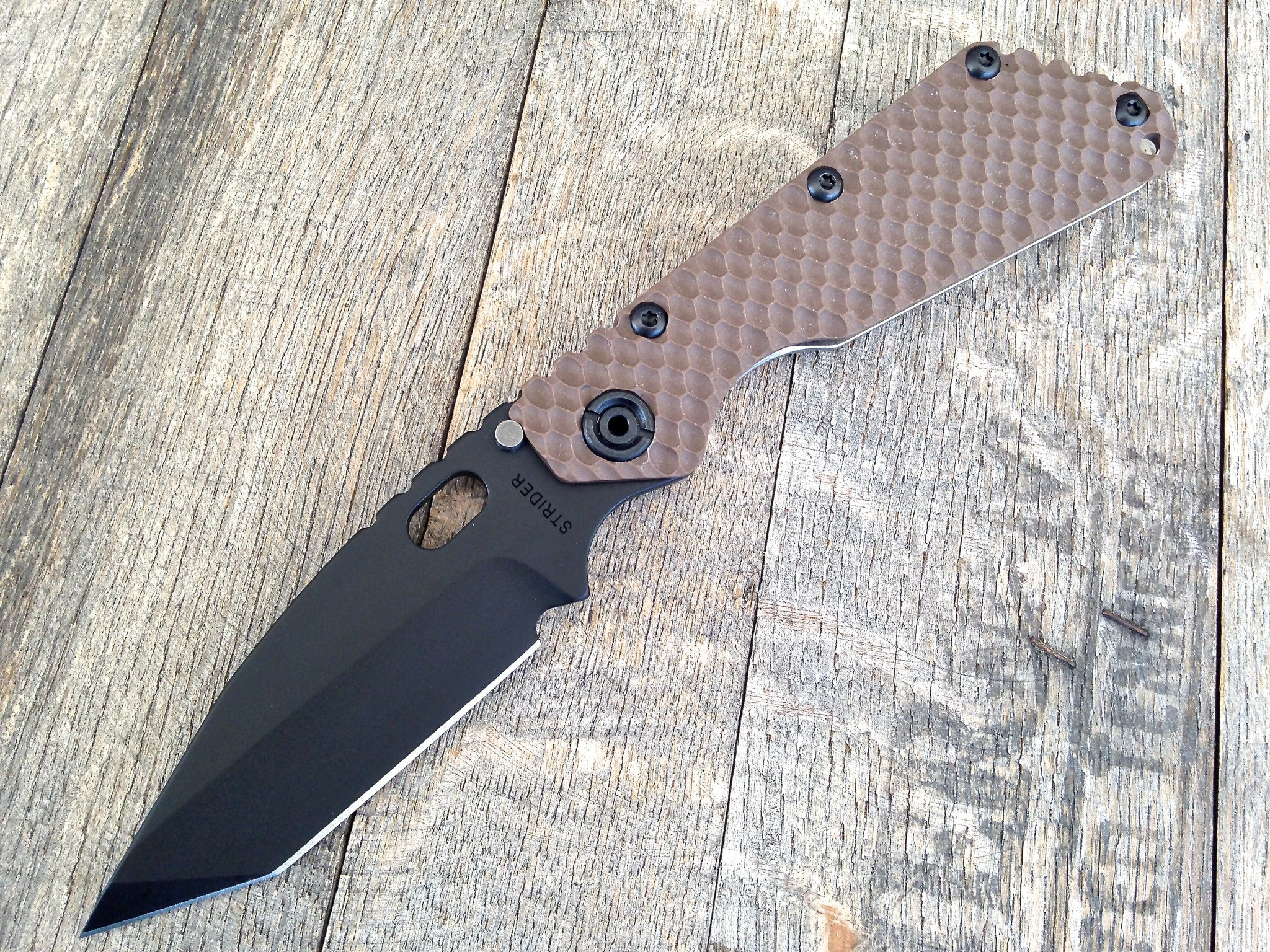 "Strider SMF DGG Tanto Black Cerkote Brown G10 (3.9"") - GearBarrel.com"