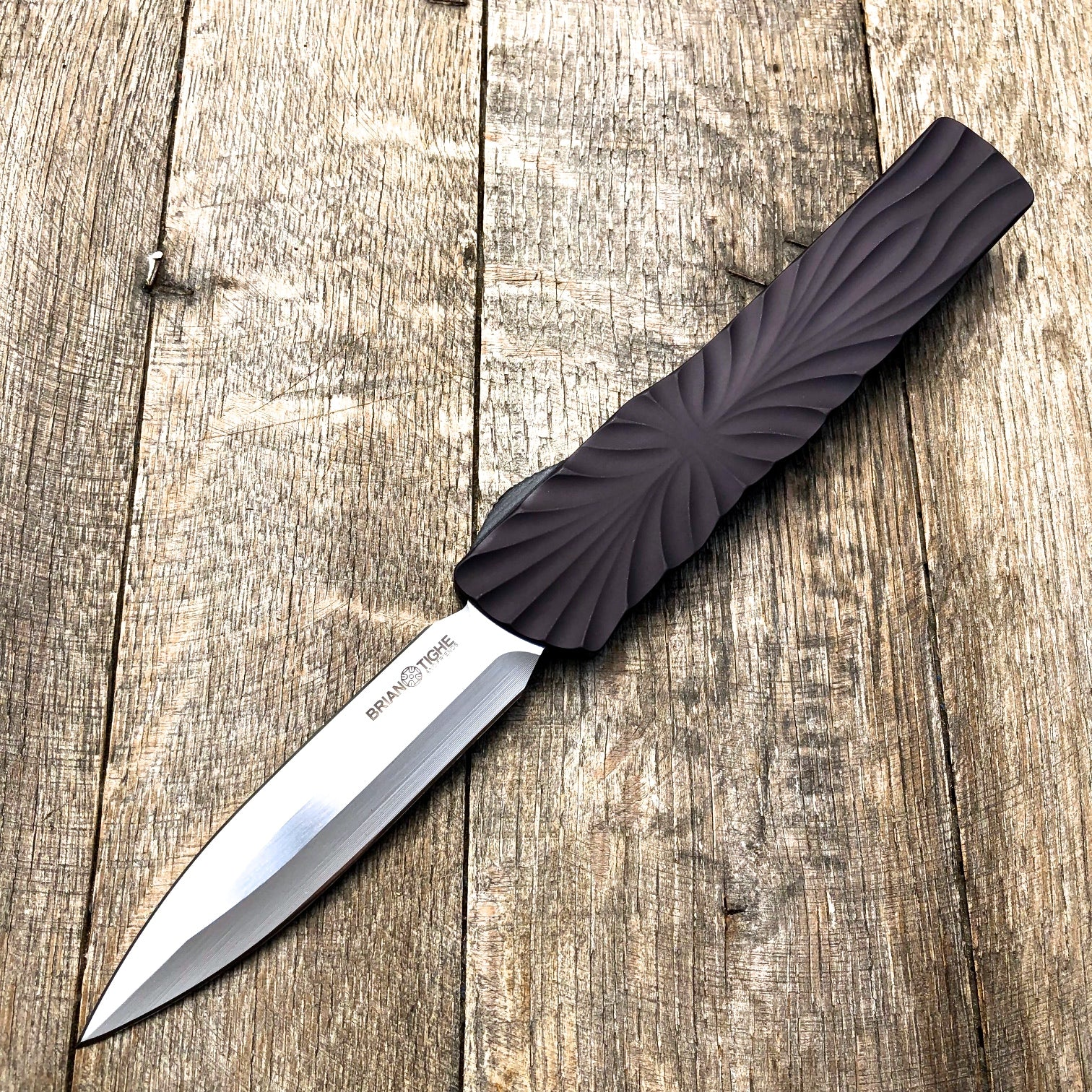 "Brian Tighe & Friends Twist Tighe Dagger OTF  A(3.6"" Two Tone Satin) - GearBarrel.com"