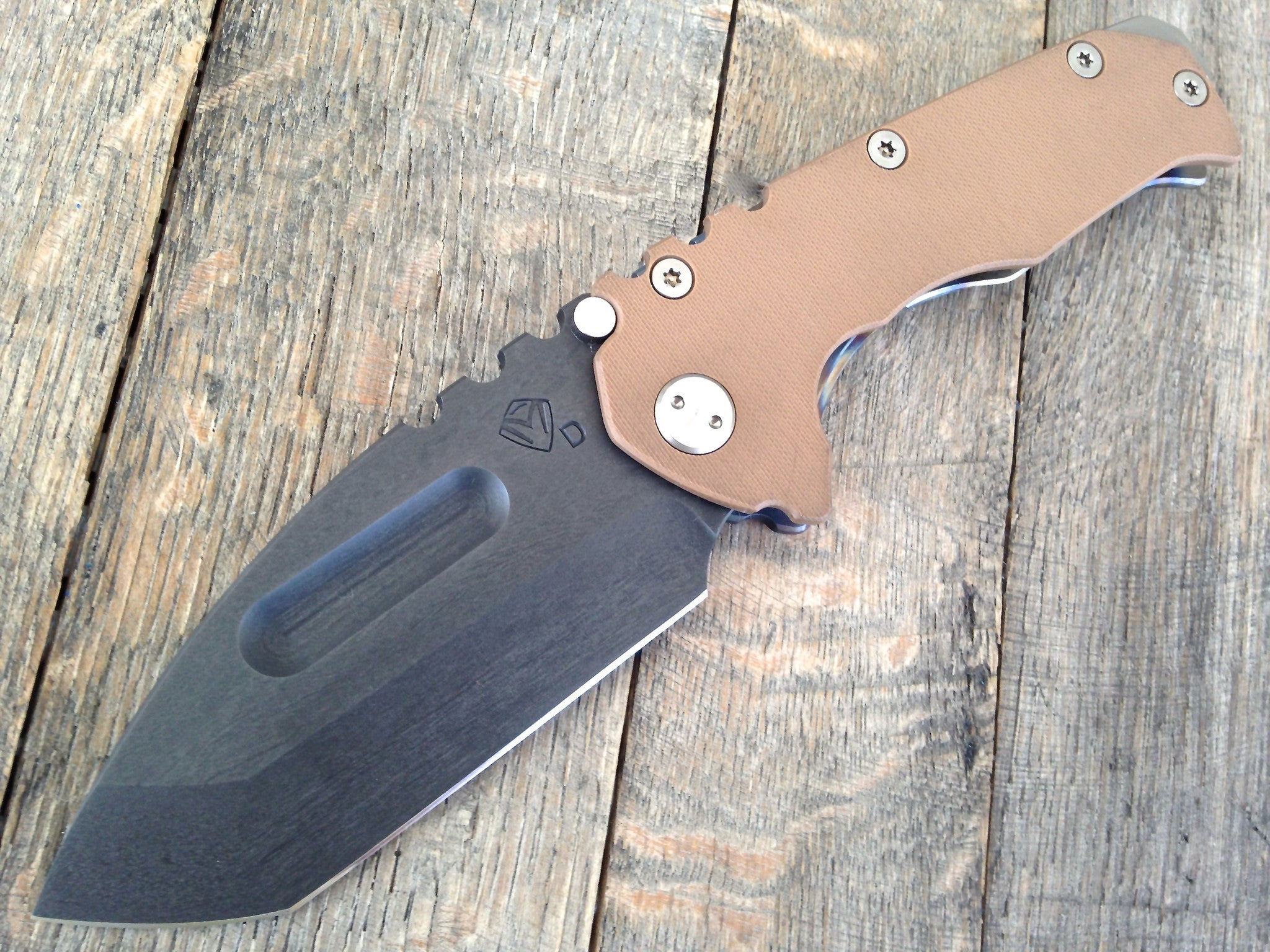 Medford Praetorian G/T Knife Brown G-10 Flames Ti (Black PVD) - GearBarrel.com