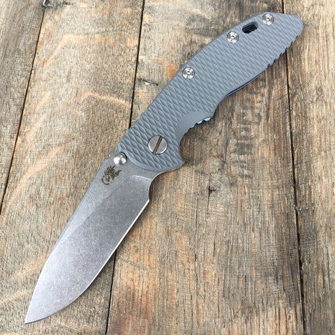 "Hinderer Knives: 3.5"" XM-18 Slicer Non-Flipper Grey G-10  Blue Anodized"
