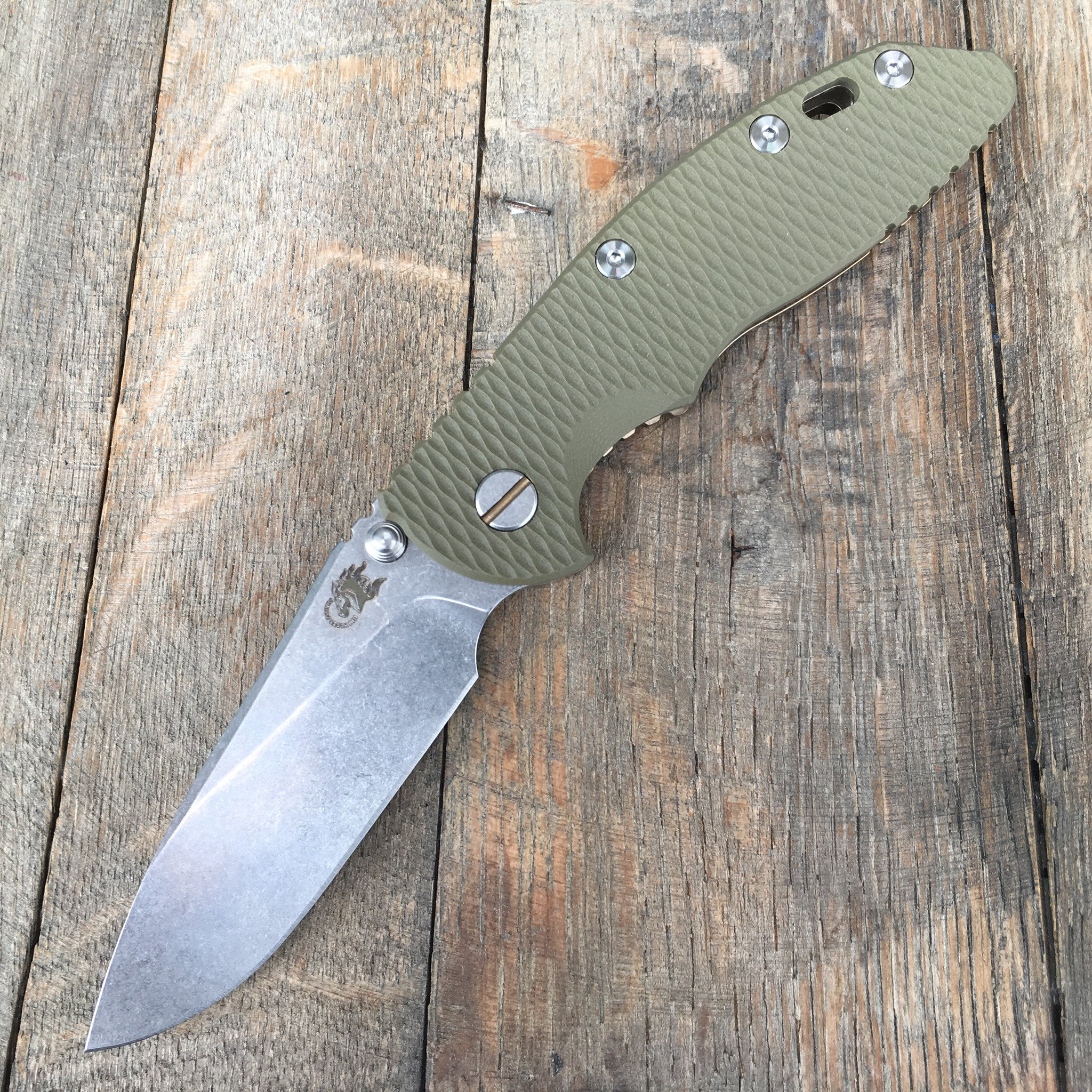 "Hinderer Knives: 3.5"" XM-18 Slicer Non-Flipper (OD Green G-10   Bronze Anodized) - GearBarrel.com"