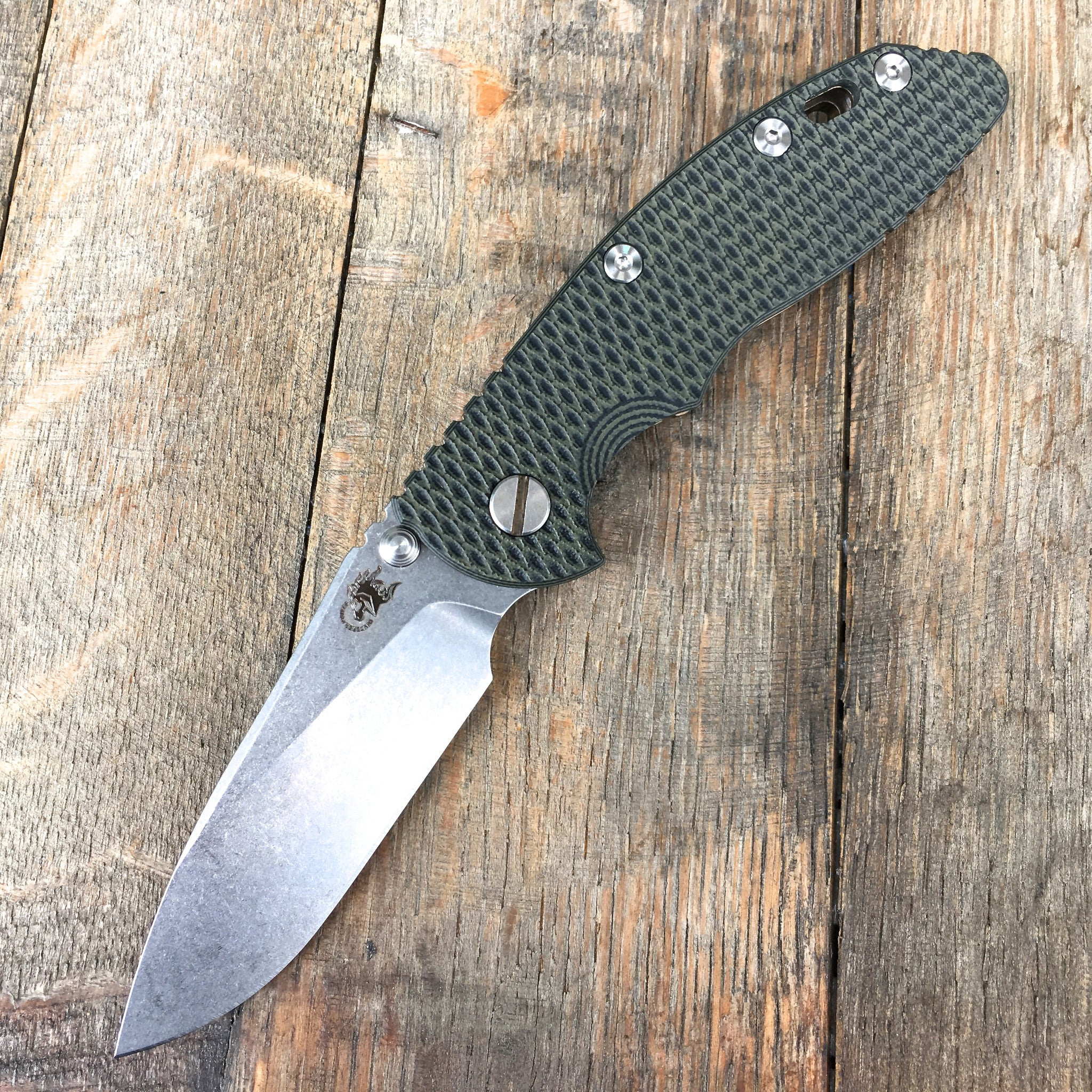 "Hinderer Knives: 3.5"" XM-18 Slicer Non-Flipper  - Green/Black G-10   Bronze Anodized - GearBarrel.com"