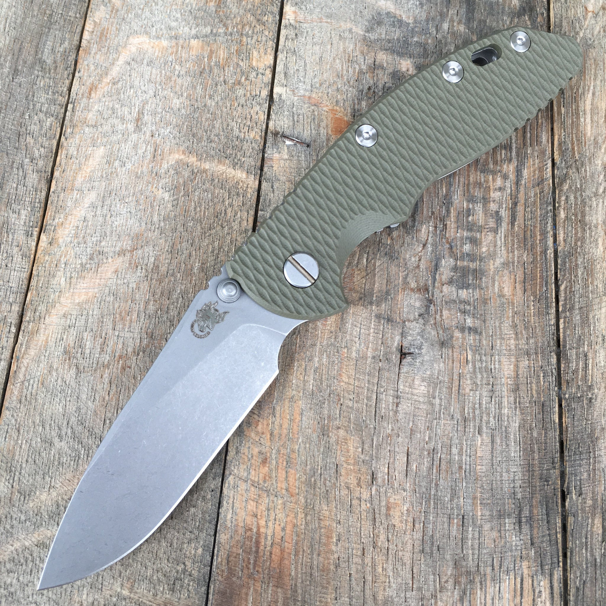"Hinderer Knives 3.5"" XM-18 Slicer Non-Flipper -OD Green G-10  Working Finish - GearBarrel.com"
