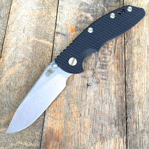"Hinderer Knives 3.5"" XM-18 Slicer Non-Flipper -Black G-10  (Working Finish & Battle Blue)"