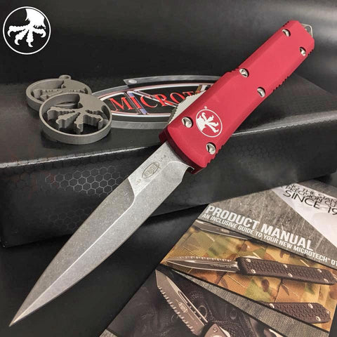 "Microtech 120-10RD Ultratech AUTO OTF 3.46"" Stonewashed  Bayonet Blade, Red Handle"