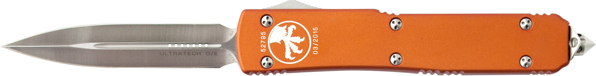 "Microtech Ultratech OTF Knife Orange D/E (3.4"" Satin) 122-4OR"