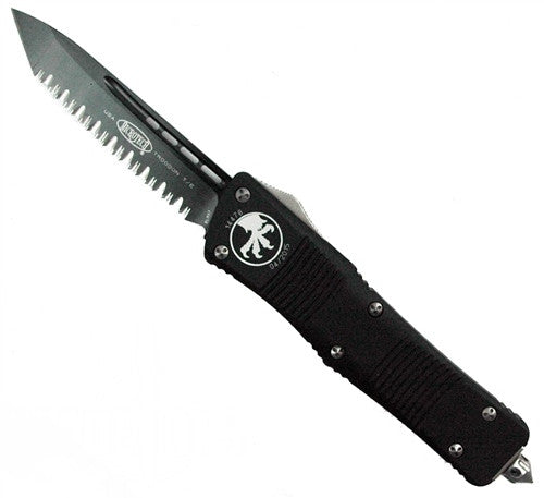Microtech Troodon Tanto OTF (Black Two-Tone Full Serrated) 140-3 - GearBarrel.com
