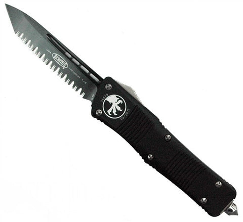 Microtech Troodon Tanto OTF (Black Two-Tone Full Serrated) 140-3