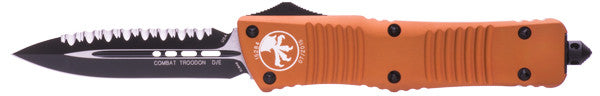 "Microtech Combat Troodon D/E Orange (3.8"" Black Full Serr) 142-3OR - GearBarrel.com"
