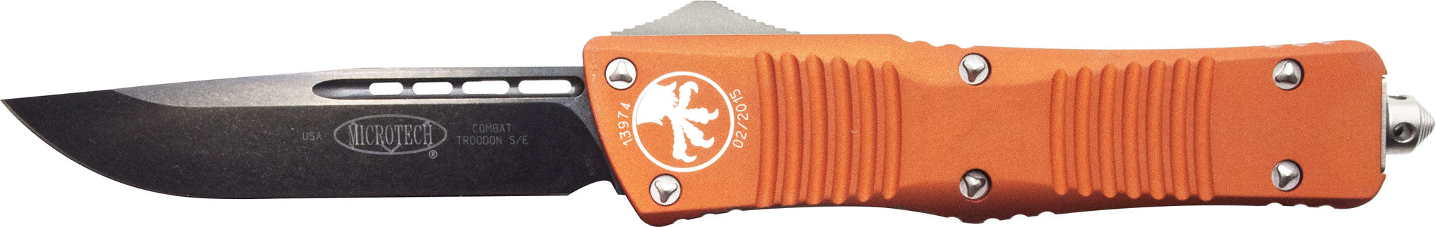 "Microtech Combat Troodon S/E OTF Automatic  (3.8"" Orange) 143-1OR - GearBarrel.com"