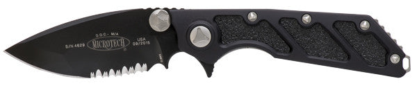 "Microtech DOC Flipper Frame Lock Knife (3.75"" Black Serr) 153-2 - GearBarrel.com"