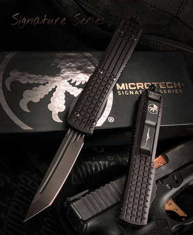 Microtech 123-1UT-DS Ultratech T/E - Black Frag Handle - Black DLC Blade - Signature Series