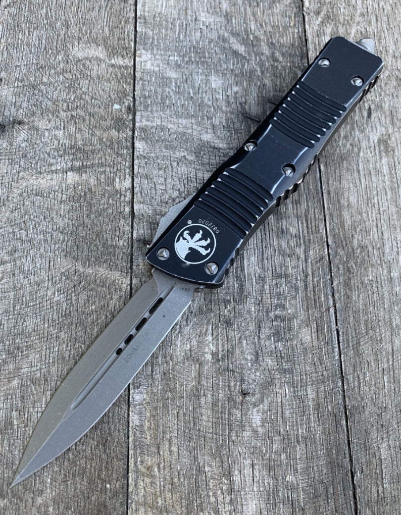 "Microtech Combat Troodon OTF Distressed D/E (3.8"" Stonewashed) 142-10DBK"