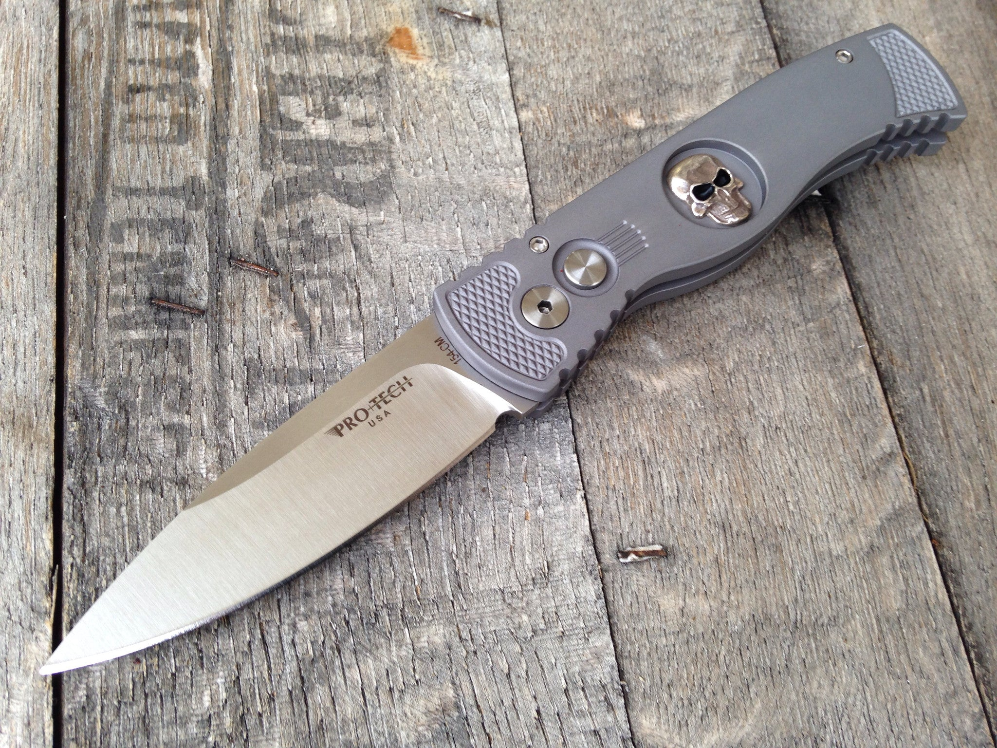"Protech TR-2.63 Skull Gray Tactical Response Automatic Knife (3"" Satin) - GearBarrel.com"