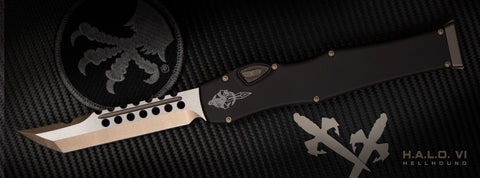 Microtech 519-13 Halo VI Hellhound T/E - Limited Edition Black Handle - Bronze Blade