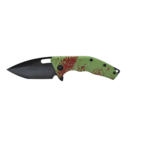 "Heretic Knives Martyr Zombie Liner Lock Knife Green Splash (3"" Black) - GearBarrel.com"