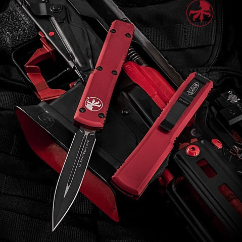 "Microtech Ultratech D/E OTF Automatic Red (3.4"" Black) 122-1RD"