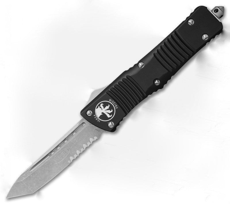 "2016 Microtech Combat Troodon Tanto Automatic (3.8"" Apocalyptic Serr) 144-11AP - GearBarrel.com"