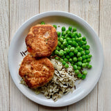Salmon Cakes with Wild Rice Pilaf and peas