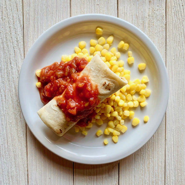 Beef and Bean Burrito with Corn and Salsa