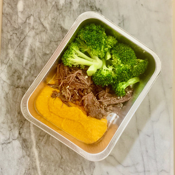 Pot Roast with Carrot Puree and Steamed Broccoli