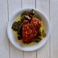 Grilled BBQ Chicken with Collard Greens and Ham Hock