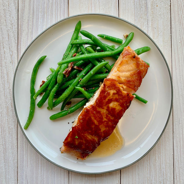 Maple Glazed Salmon with Toasted Pecan Green Beans