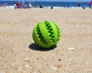 green teeth cleaning rubber ball for small medium large dogs