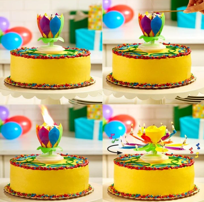 Multicolor Rotating Lotus Cake Candle【BUY 3 GET 2 FREE 】