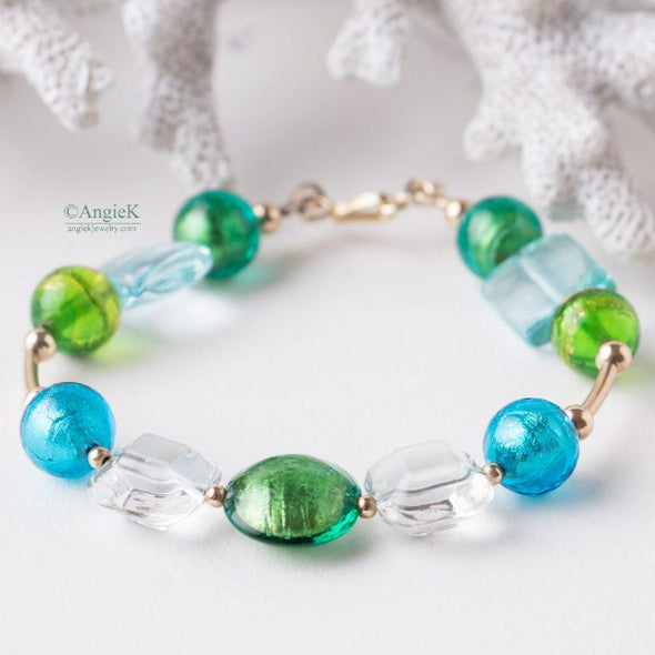 Multi Murano Glass 14KT Gold Filled Bracelet