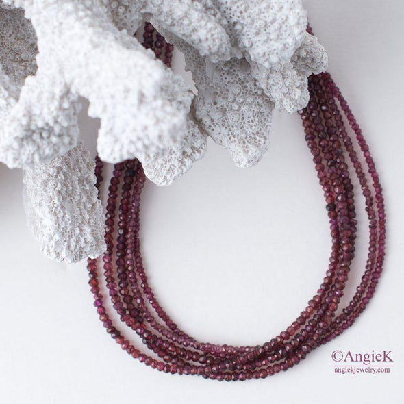 Multi Rhodolite Garnet Sterling Silver Statement Necklace