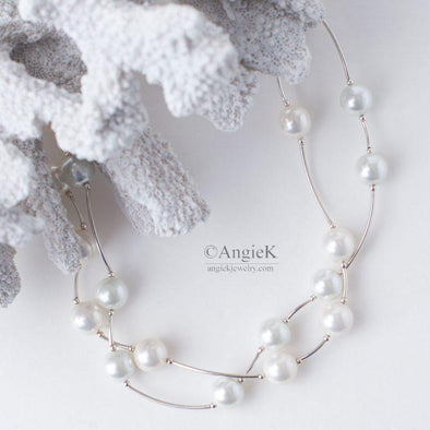 White South Sea Shell Pearls Double Strand Sterling Silver Necklace