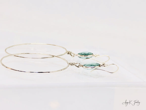 Aquamarine Silver Hoop Earrings