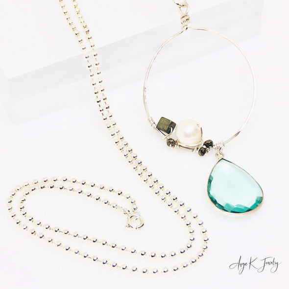 Aquamarine Pear Sterling Silver Bead Chain Long Necklace