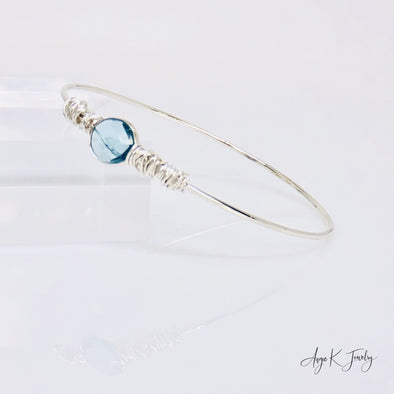 Blue Topaz Silver Bangle