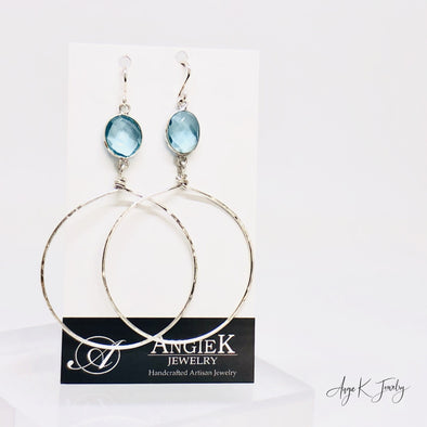 Blue Topaz Silver Hoop Earrings