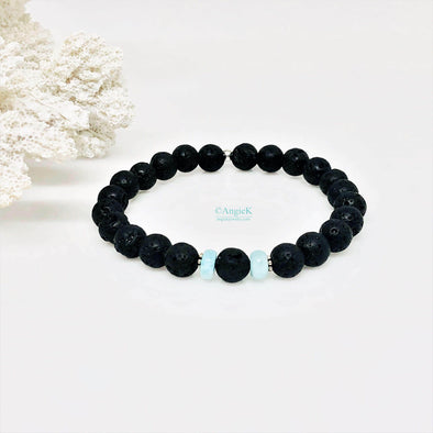 Black Lava Rock And Larimar Gemstone Bracelet